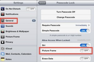 9. how to turn off picture frame on iPad